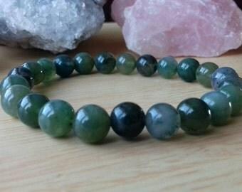 Green Moss Agate Energy Charged Crystal Bracelet - Crystal Healing, Creativity, Abundance, Prosperity, Grounding, Heart Chakra Energy