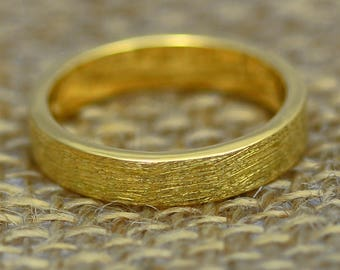 Scottish & Recycled Gold Etched Flat Profile 4mm Wedding Ring