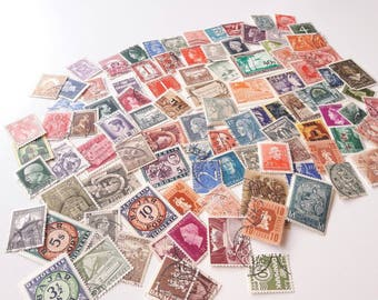 100 Vintage Postage Stamps - All from before 1950 - All Different - Worldwide Mix