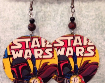 Star Wars Earrings, Up-cycled Cardboard, Boba Fett,  Star Wars Comics