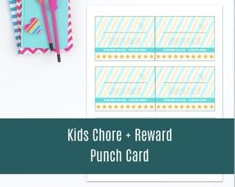 Printable Chore Card set for kids + reward card system - Instant Download Printable