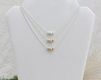 Chain Necklace, Minimalist, Rose Gold, Gold, Silver, Bead Necklace, Sparkly, Fine Chain Mixed Metal Necklace 4 Color Combos, 16 to 21 Inches