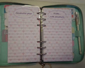 Refill useful for those who follow a diet. To keep track of weight control, add personal notes and results, targets