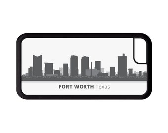Fort Worth Texas Skyline Personalized Phone Case - iPhone 7, 6, 6s Plus, 5c, 5 5s SE, Galaxy S8 S8 Plus S7 S6 Edge S5, rubber cover, TX