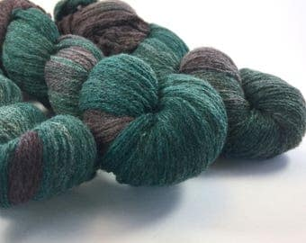 Hand Dyed/ Recycled/ Yarn/ light fingering weight/ teal green/ purple/ variegated/ 100% wool