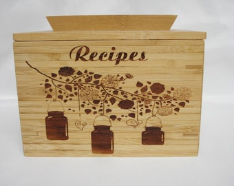 Bamboo Recipe Box Custom Laser Engraved Hanging Canning Jars Many Other Uses
