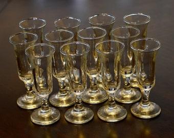 Vintage,Liqueur glasses,Shot glasses,Set of 12, Sherry glasses,Small Footed glasses