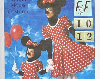 Women's Minnie Mouse Costume Sewing Pattern/ 1980's Simplicity 7730 Adult full costume from ears, dress to shoes, UnCut/ Size 10 12