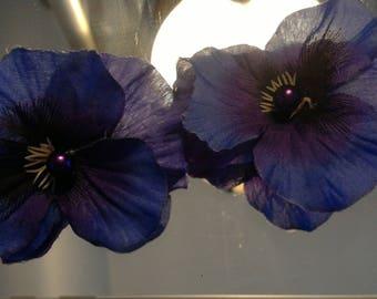 Purple petal pearled floral studs