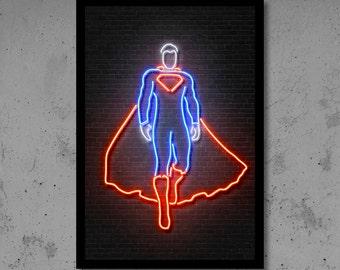 Superman Wall Art Superman Nursery Superman Neon Gift for Him Superman Wall Décor Superhero Wall Décor Kids Room Wall Art Superman Gifts