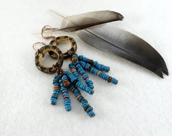 Pyrographed wooden earrings, blue clay pearls clusters