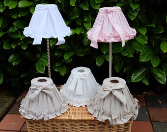 Shabby Chic Lamp shade – Vintage/Antique Style. Ruffled Linen. Gorgeous!