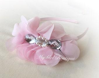 Light Pink , baby pink, Hair Bow Headband, Big Girls Hard Headband,  pink Bow, Everyday Headband, pink hard headband to School Hair Bows