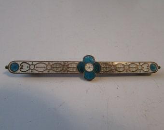 Vintage Blue White Enamel Bar Pin Brooch