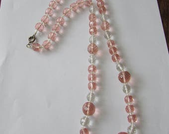 Vintage Pink & Clear Glass Faceted Bead Necklace