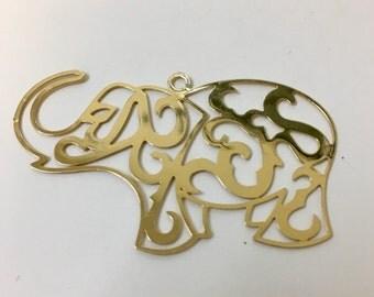 Large Elephant Charm, Pendant.  18K Gold Filled Elephant