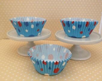Blue Dot Cupcake Baking Papers - Set of 10