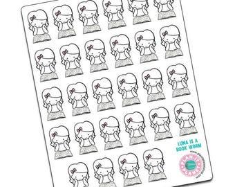 Luna Is A Bookworm -- Original Hand Drawn Stickers by Plan-It Planet