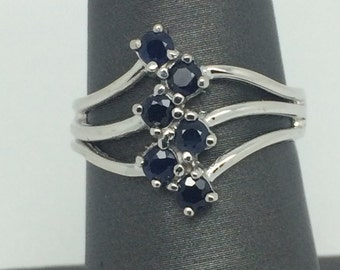 14K Solid White Gold Wide Natural Blue Sapphire Ring