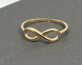 14K Yellow Gold Plain Infinity Sign Ring