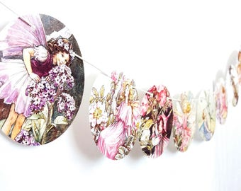 pink purple cute Flower Fairies children's bunting up-cycled children's book garland nursery child's room decor  Ciceley Mary Barker  #m105