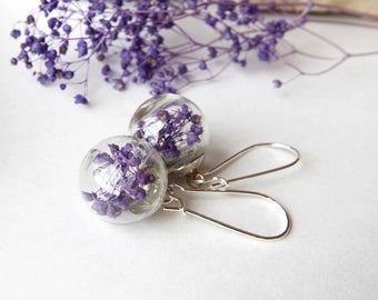 Purple  flower earrings  Purple earrings Purple flower jewelry  Real flowers earrings Terrarium Jewelry Botanical Jewelry Gift for her