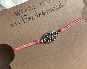 Bridesmaid Flower Bracelet, Coral Bracelet, Would you be my Bridesmaid NB001427