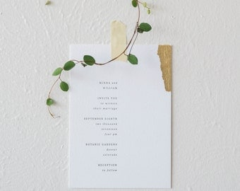 MINNA - minimalist letterpress wedding invitation | modern gold