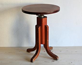 Vintage Piano Stool - Artist Stool -Wooden  Coffee Table - Pedestal Stool- Mid Century Furniture
