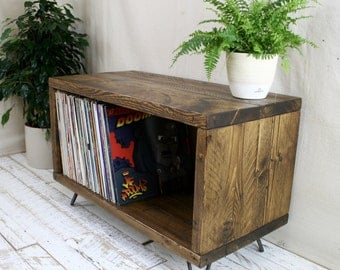 Reclaimed Wood TV Stand Record Player Vinyl Unit Hairpin Leg