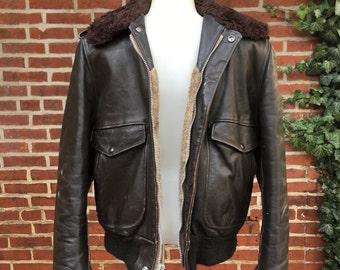 Vintage Schott bomber jacket G1 G-1 brown leather sz 36 I S 674 M S