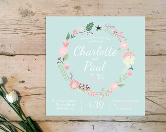 Floral 'Charlotte' Romantic Wedding Invitation & RSVP (sample), 'Charlotte' Collection, Flowers, Blue, Wedding invites, Save the date