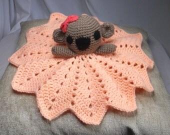 READYMADE security blanket, crochet snuggle cuddle koala comforter.
