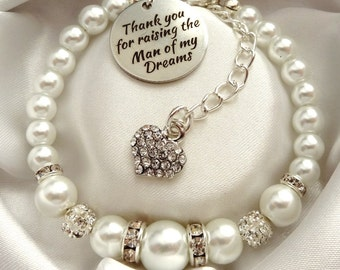 White - Raising the man/woman of my dreams,mother of the Groom gift, gift for mother of the bride,Mother of the groom bracelet,mother in law