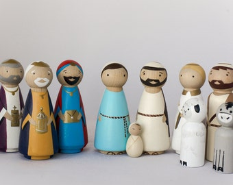 Wooden Peg Dolls NATIVITY