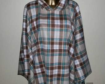 Mens or Womans Hooded Fleece Poncho with  Front Pocket One Size Fits All