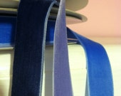 """Blue and purple 7/8"""" Velvet ribbon. 1.35 per yard or less!  1, 3 or 5 yds."""
