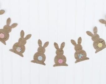 Easter Banner, Bunny Banner, Easter Garland, Bunny Garland, Spring Banner, Happy Easter, Burlap Banner, Easter, Spring Decor, Easter decor
