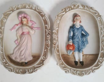 Vintage Ceramic Norleans made in Taiwan Colonial Wall Plaques
