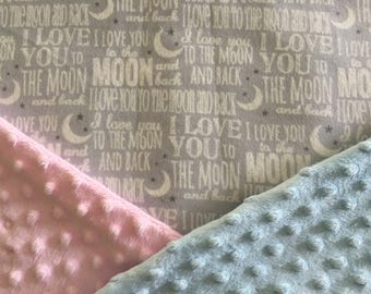 "Personalized Minky Baby Blanket, ""I Love you to the Moon and Back"" Astrology Minky Baby Blanket"