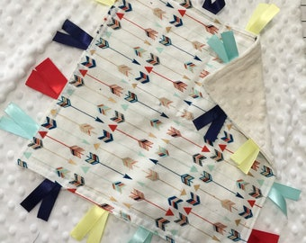 Personalized Tag Blanket Sensory Ribbon Blanket Lovey- Multicolored Navy Red Gold Arrows with Minky Dot