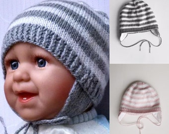 baby winter hats Baby Boy Hat with cotton lining Newborn Baby Hat, Grey & White color