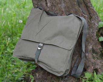 Canvas bag - Shoulder bag - Crossbody bag - Army canvas bag - Hippie bag - Messenger bag - Khaki hippy bag - Haversack bag - Vintage bag