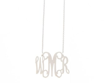 Large Sterling Silver Monogram Filigree Necklace - Interlocking Collection