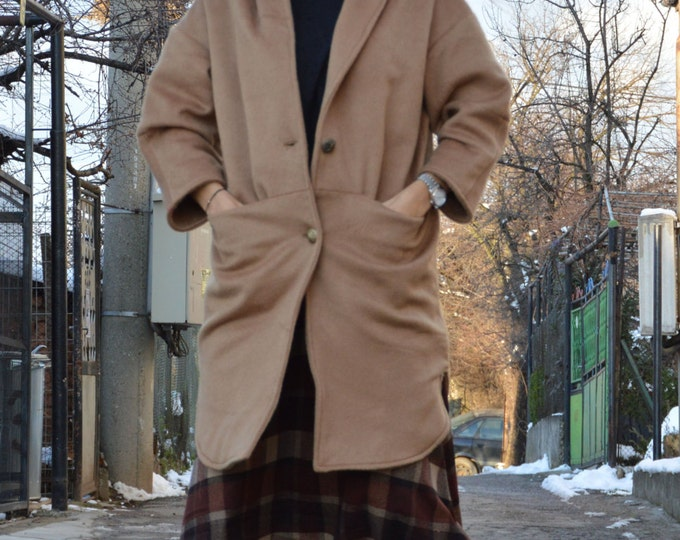 Woman's Coat, Elegant Beige Cashmere Coat, Extravagant Coat, Casual Jacket, Winter Warm Coat by SSDfashion