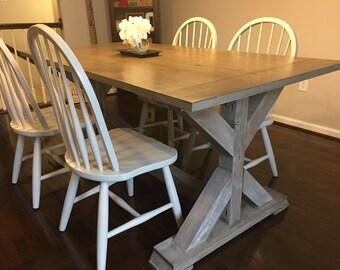Custom Made Weathered Trestle Base Farm Table - Up To 9' Length!!!