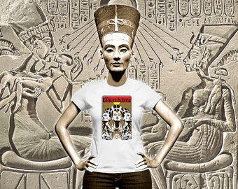 Nefertiti, Queen of the Nile, Egypt, Queen, Woman's tee, Akhenaten, Aten, graphic t-shirt, blue lotus, lily