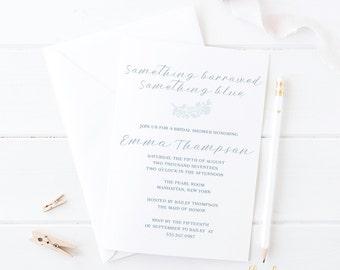 Blue Bridal Shower Invitation -- Set of 25