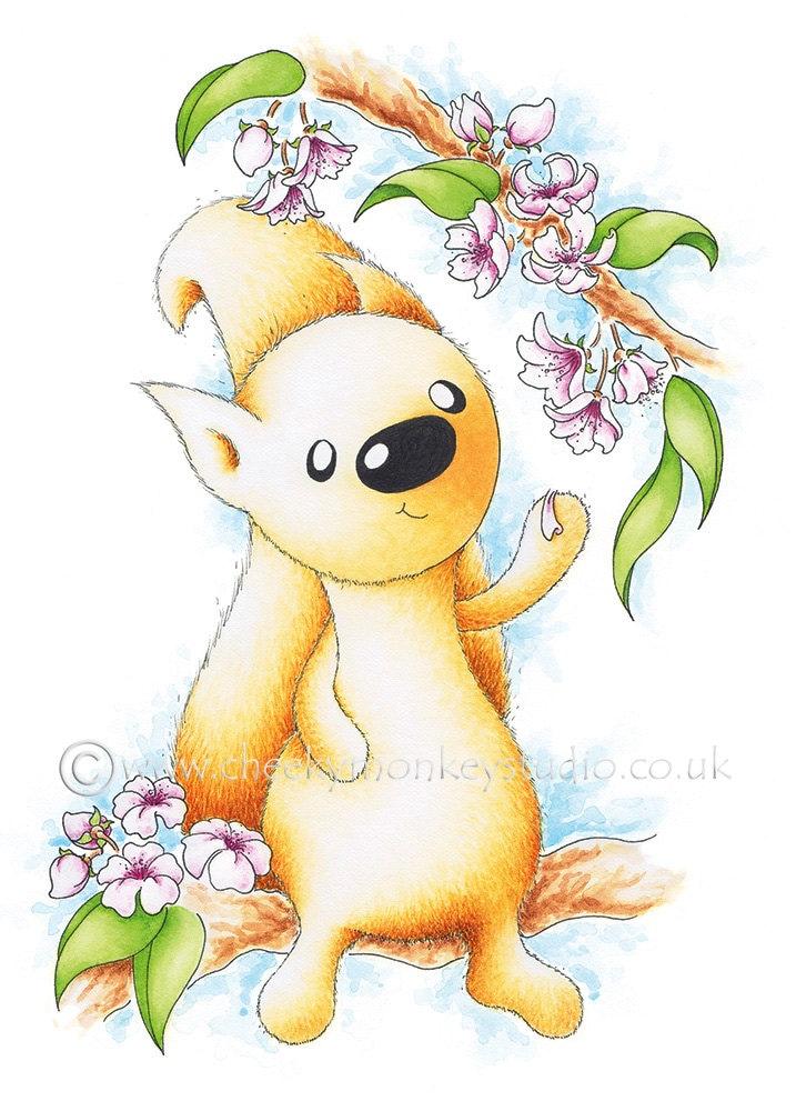 Blossom Squirrel Postcard, Baby Girl Shower Gift, New Baby Girl Gift ...