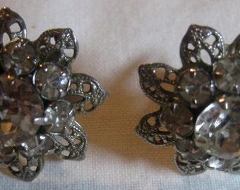 Silver Filigree and Crystal Star/Flower Screw Back Earrings
